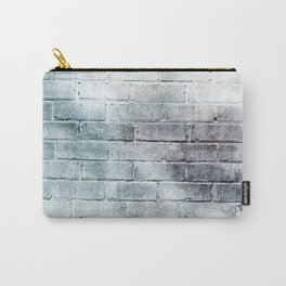 paynes gray distressed painted brick wall ambient decor rustic brick effect Carry-All Pouch