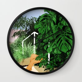 Hiding in Green #painting #illustration Wall Clock