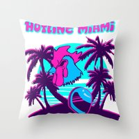 hotline miami Throw Pillows featuring Hotline Miami  by noxioussomnium