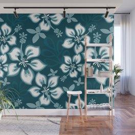 Tropical Dark Teal Inspired by Sherwin Williams 2020 Trending Color Oceanside SW6496 Hawaiian Hibiscus Flower Bloom Pattern Wall Mural