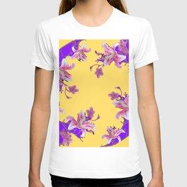 ORIENTAL STYLE PURPLE-YELLOW FLOWERS T-shirt