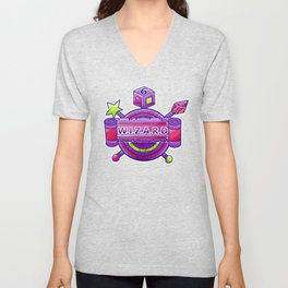 Wizard Wands, Amulet and d6 Coat of Arms Unisex V-Neck