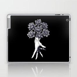 Hand with lotuses on black Laptop & iPad Skin