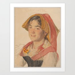 Head of an Girl from Civita d'Antino in Regional Dress ( Catarinella ) , Peder Severin Krøyer (Danis Art Print