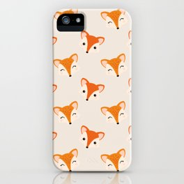 Cute Smiling Fox Head Illustration with Light Background iPhone Case