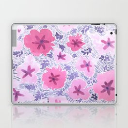 Pink Floral Graphic Watercolor Pattern Laptop & iPad Skin