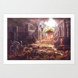Armoured Chicken Charge Art Print