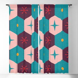 Honeycomb with atomic elements Pattern Blackout Curtain