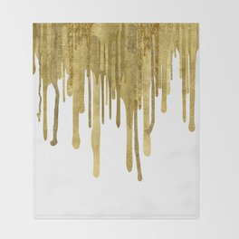 Gold paint drips Throw Blanket