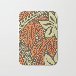 Cream orange retro colored Polynesian floral tattoo design Bath Mat
