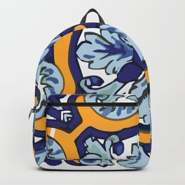 Talavera Mexican tile inspired bold design in blues and yellows Backpack