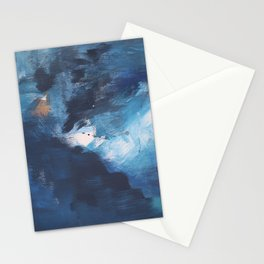 Ships in the Night: a vibrant abstract mixed-media piece in blues and golds by Alyssa Hamilton Art Stationery Cards