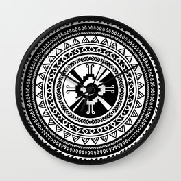 Hunab Ku Mayan symbol black and white Wall Clock