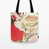 cafe Tote Bags featuring Cafe by Artzology