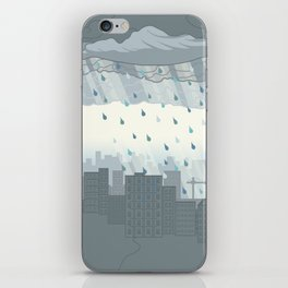 Rain in the city iPhone Skin