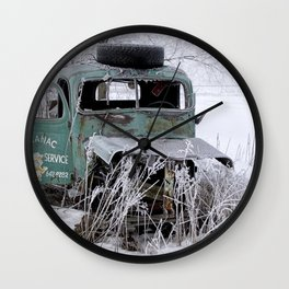 Saranac Cities Service Truck in the Hoar Frost of Winter Wall Clock