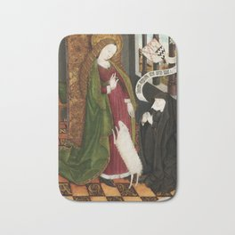 Kneeling in Adoration before Saint Agnes Bath Mat