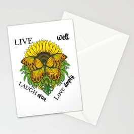 Sunflower Butterfly Shirt,Live Well Laugh Often Love Deeply T-Shirt Stationery Cards