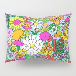 60's Groovy Garden in Blue Pillow Sham