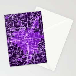 Denver Colorado map, year 1958, purple filter Stationery Cards