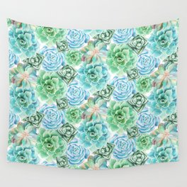 Mint Green Succulents Wall Tapestry