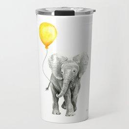Elephant Watercolor Yellow Balloon Whimsical Baby Animals Travel Mug