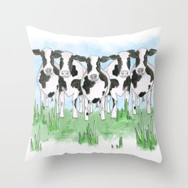 A Field of Cows Throw Pillow