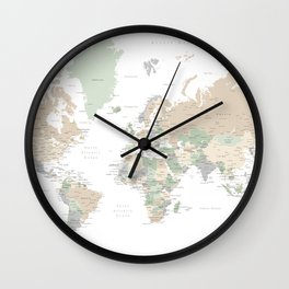 """World map with cities, """"Anouk"""" Wall Clock"""