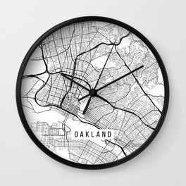 Oakland Map, USA - Black and White Wall Clock