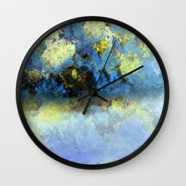 Bright Blue and Golden Pond Wall Clock