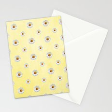 Daisies in love- Yellow Daisy Flower Floral pattern with Ladybug on #Society6 Stationery Cards