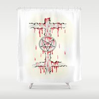 pentagram Shower Curtains featuring Pentagram by Anca Avram