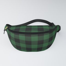 Jumbo Forest Green and Black Rustic Cowboy Cabin Buffalo Check Fanny Pack