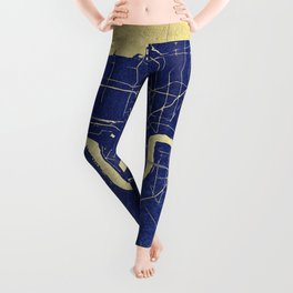 New Orleans Blue and Gold Map Leggings