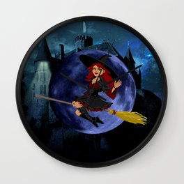 Witch and Blue Moon Wall Clock