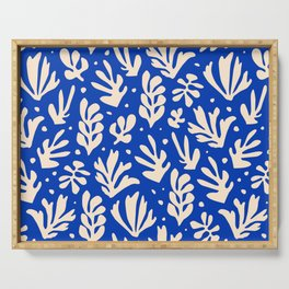 matisse pattern with leaves in blu Serving Tray