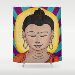 Golden Sun Buddha Illustration by Imaginarium Arts Shower Curtain