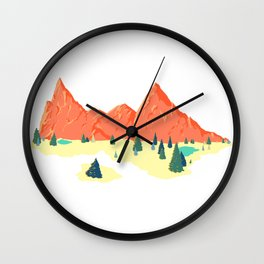 Pink Mountainscape Wall Clock