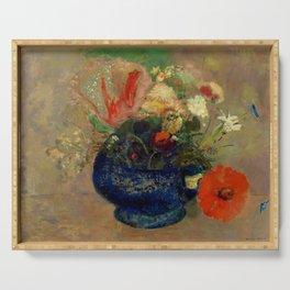 "Odilon Redon ""Flowers in a Blue Cup (Fleurs dans une coupe bleue)"" Serving Tray"