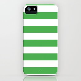 Even Horizontal Stripes, Green and White, L iPhone Case