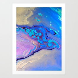 Slow Down Purple - Ultra Violet and Blue Fluid Pour Painting Abstract Art Print