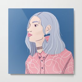 Silver Haired Girl in a Pink Shirt Metal Print