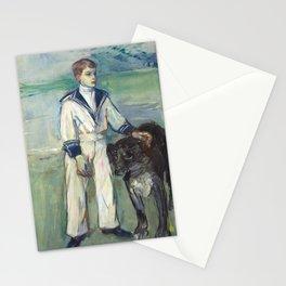 """Henri de Toulouse-Lautrec """"L'Enfant au chien, fils de Madame Marthe et la chienne Pamela-Taussat"""" Stationery Cards"""