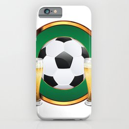 Two beer glasses and soccer ball in green circle iPhone Case