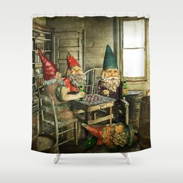 Garden Gnomes Playing Checkers Shower Curtain
