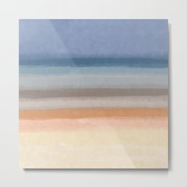Abstract Horizon geometric art, Calm Beach_ oil painting brush strokes Metal Print