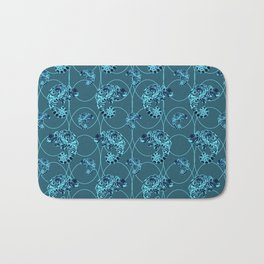 Chameleon Oneness in Midnight Vintage Psychedelic Blue Space Bath Mat