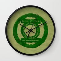 lord of the ring Wall Clocks featuring One Green Ring by Oddesign
