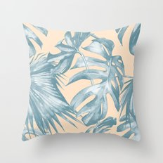 Tropical Leaves Ocean Blue on Citrus Throw Pillow