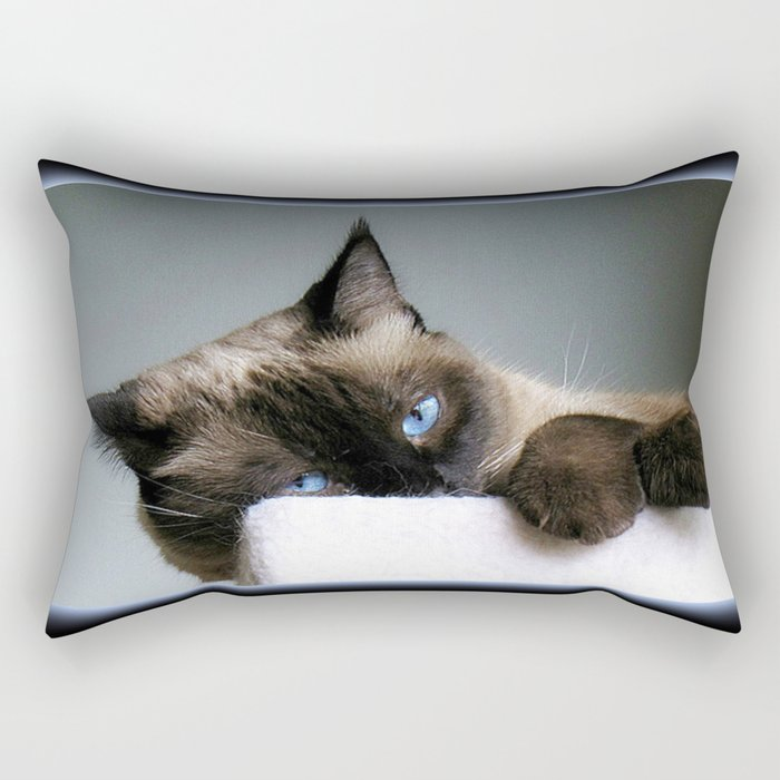 Blue Eyed Cat Rectangular Pillow
